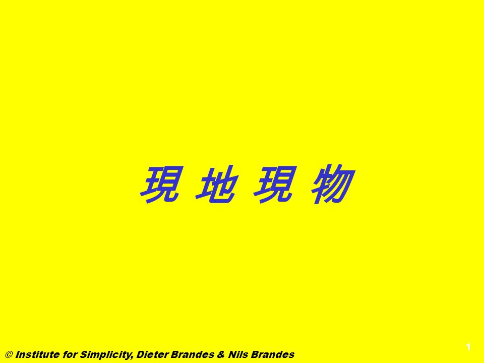 現 地 現 物 © Institute for Simplicity, Dieter Brandes & Nils Brandes