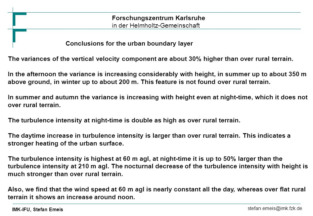 Conclusions for the urban boundary layer