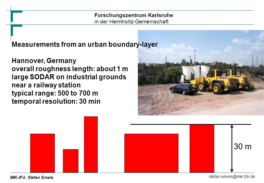 30 m Measurements from an urban boundary-layer Hannover, Germany