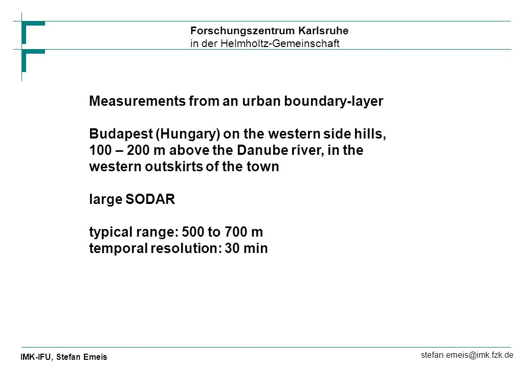 Measurements from an urban boundary-layer