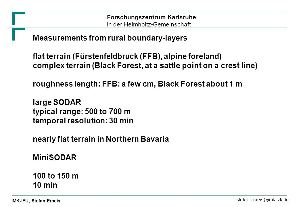 Measurements from rural boundary-layers