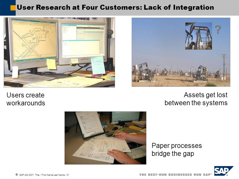 User Research at Four Customers: Lack of Integration