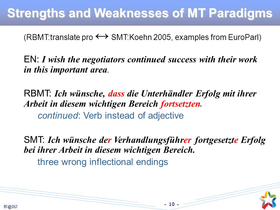 Strengths and Weaknesses of MT Paradigms