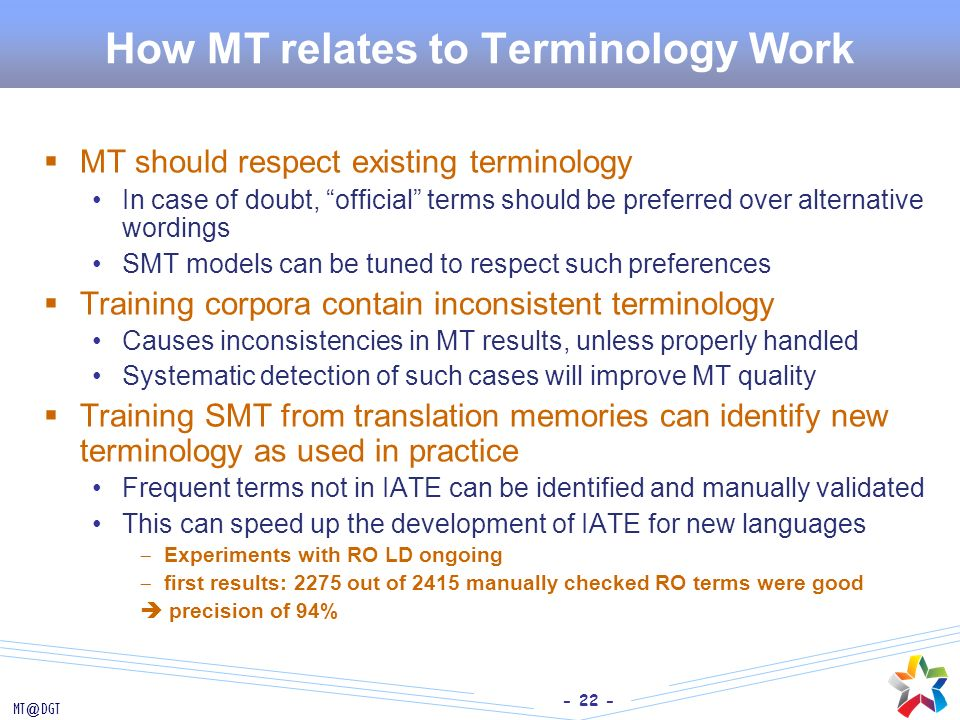 How MT relates to Terminology Work