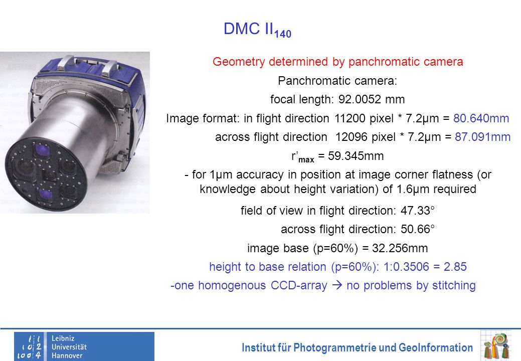 DMC II140 Geometry determined by panchromatic camera