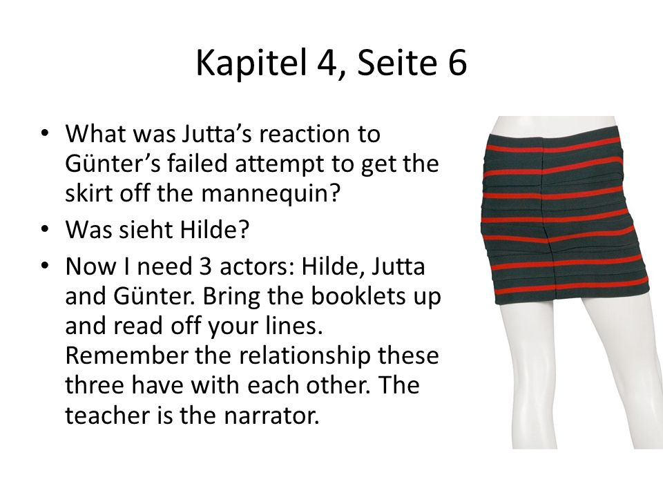 Kapitel 4, Seite 6 What was Jutta's reaction to Günter's failed attempt to get the skirt off the mannequin