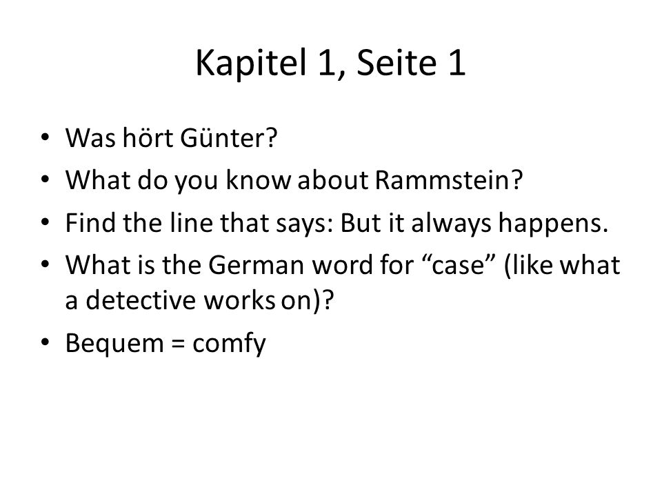 Kapitel 1, Seite 1 Was hört Günter What do you know about Rammstein