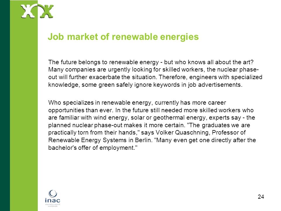 Job market of renewable energies