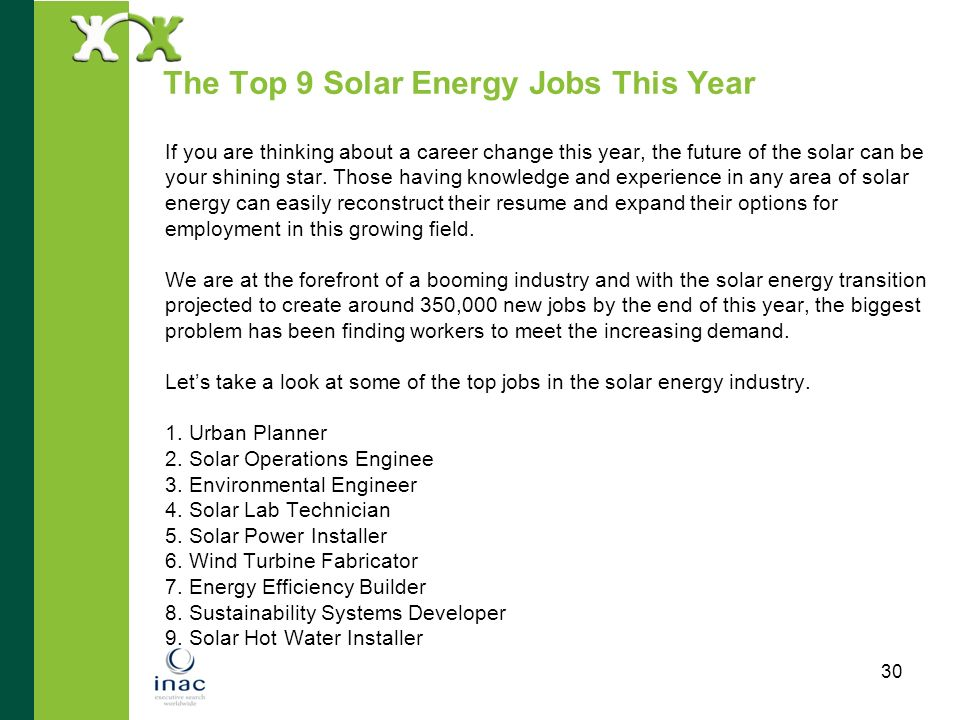 The Top 9 Solar Energy Jobs This Year