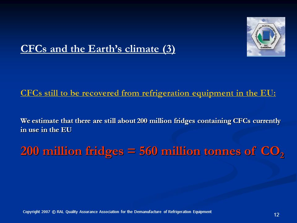 200 million fridges = 560 million tonnes of CO2
