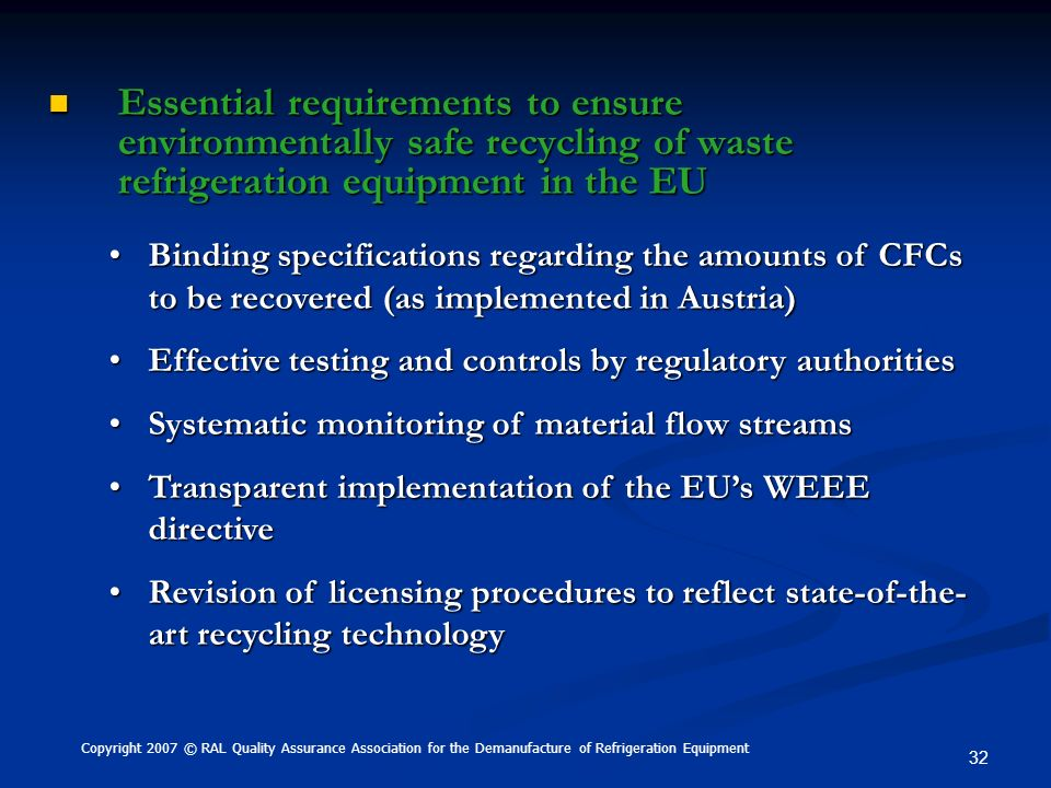 Essential requirements to ensure environmentally safe recycling of waste refrigeration equipment in the EU