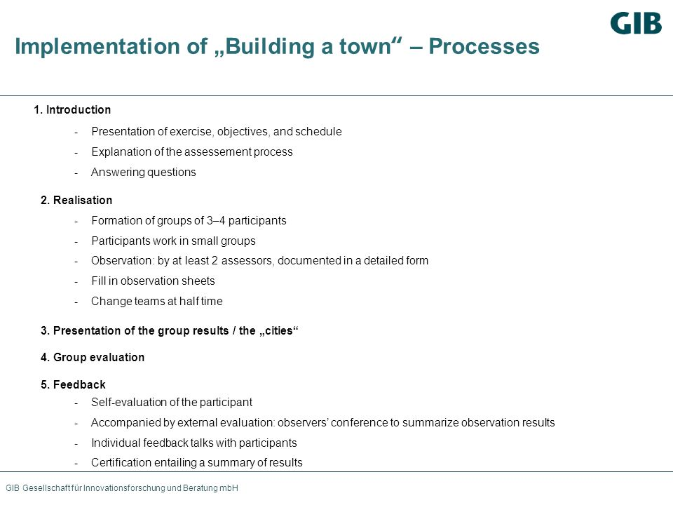 "Implementation of ""Building a town – Processes"