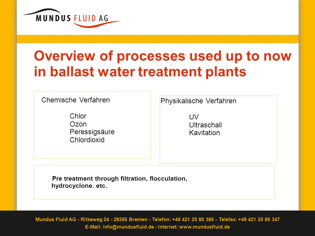 Overview of processes used up to now in ballast water treatment plants