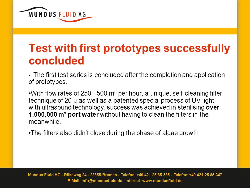 Test with first prototypes successfully concluded