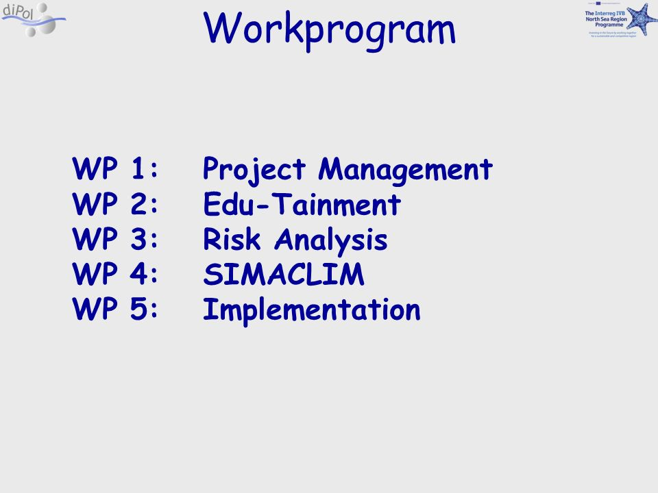 Workprogram WP 1: Project Management WP 2: Edu-Tainment