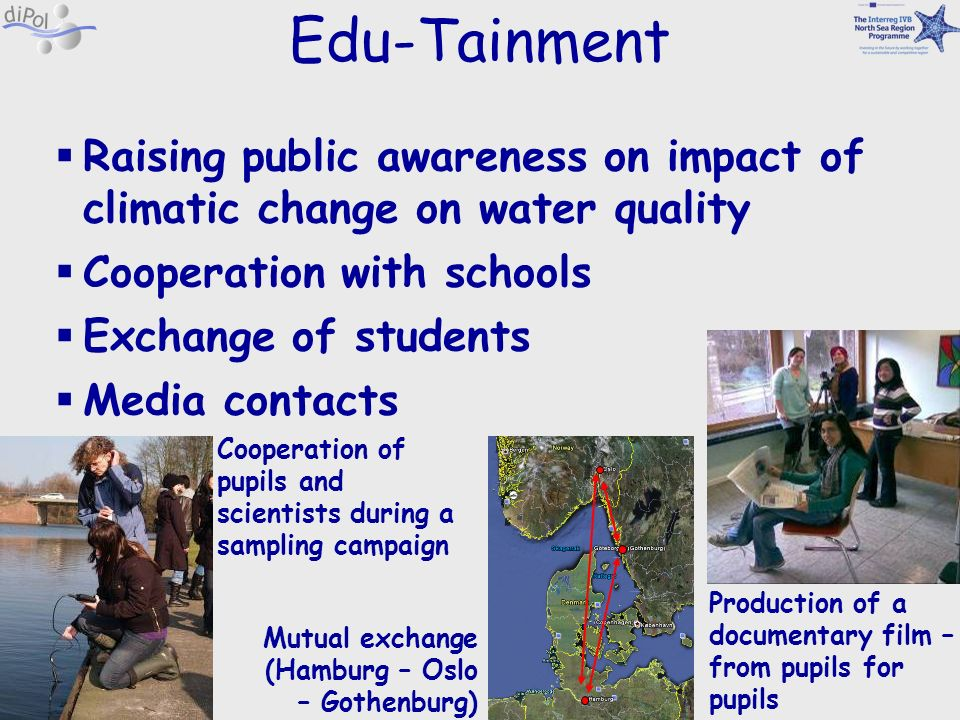 Edu-Tainment Raising public awareness on impact of climatic change on water quality. Cooperation with schools.