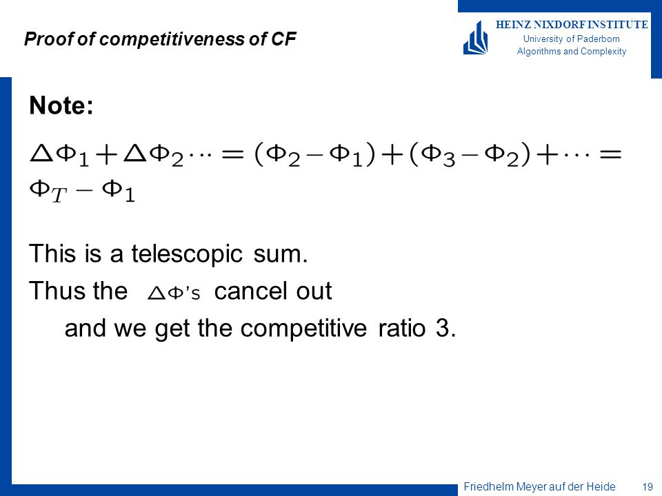 Proof of competitiveness of CF