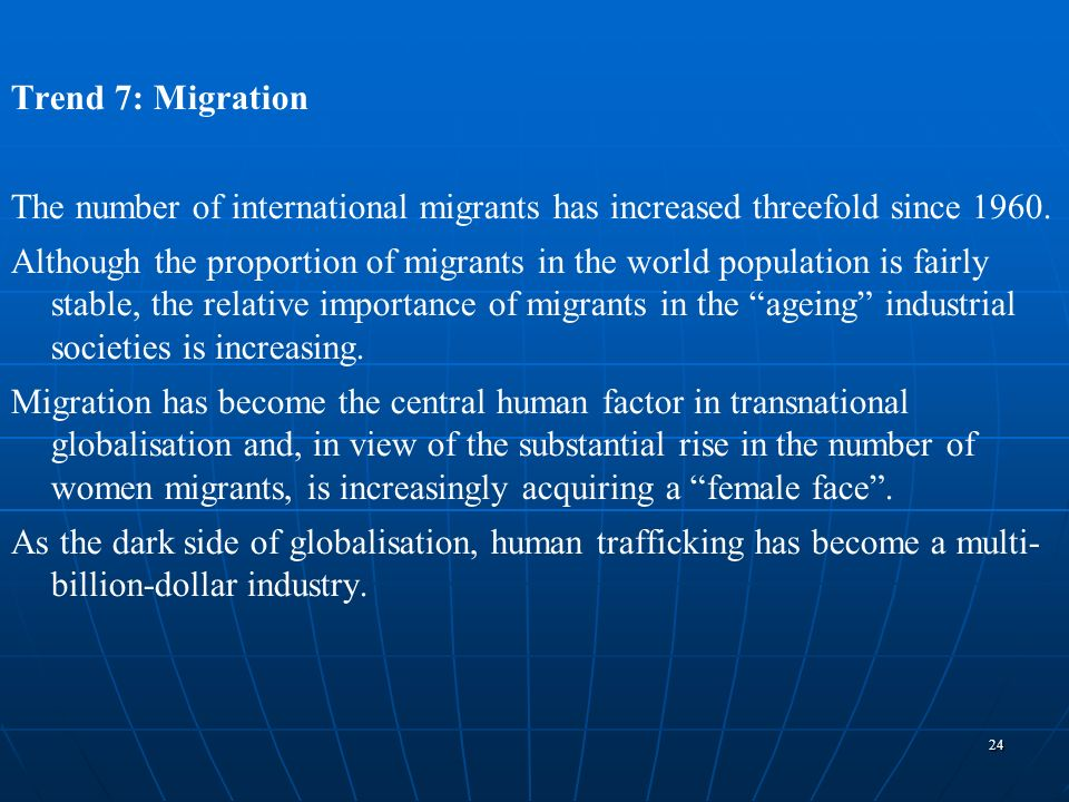 Trend 7: Migration The number of international migrants has increased threefold since 1960.