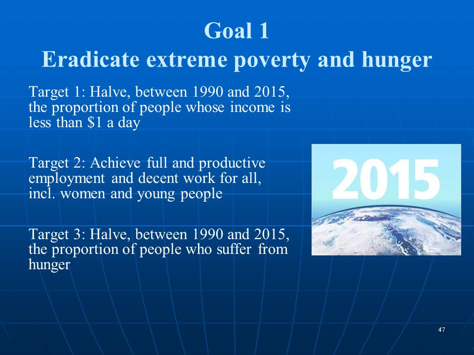 Goal 1 Eradicate extreme poverty and hunger