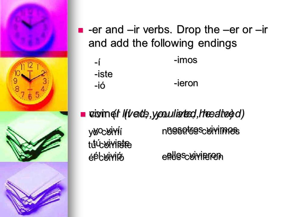 -er and –ir verbs. Drop the –er or –ir and add the following endings