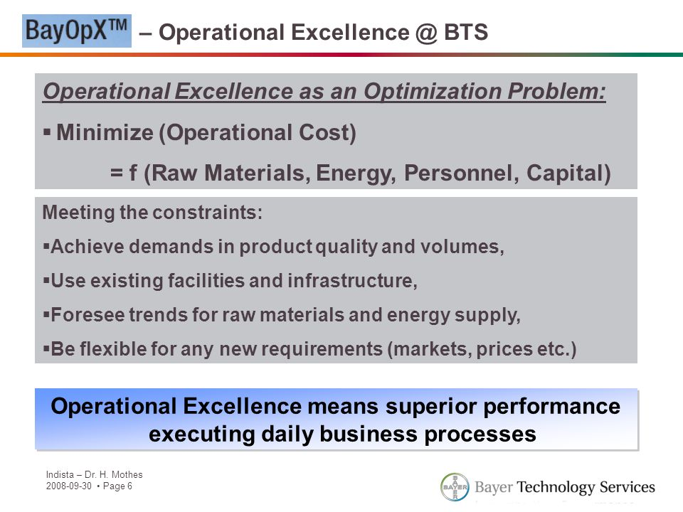 BayOpX – Operational Excellence @ BTS