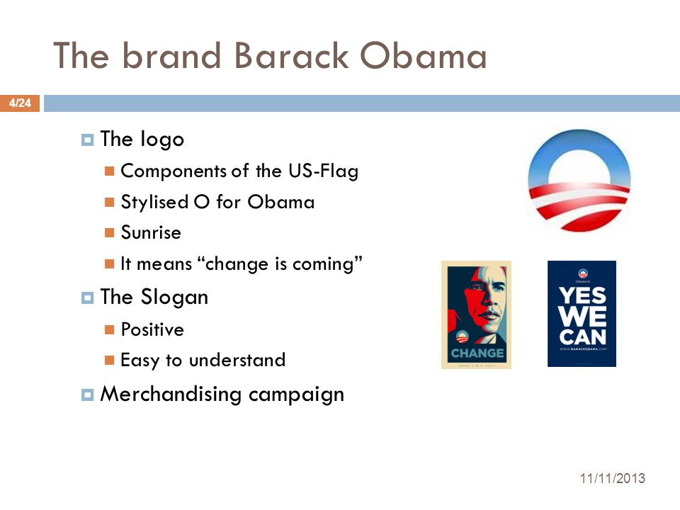 The brand Barack Obama The logo The Slogan Merchandising campaign