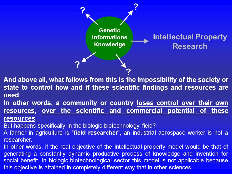 Genetic Informations Knowledge Intellectual Property