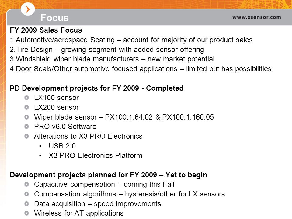 Focus FY 2009 Sales Focus. Automotive/aerospace Seating – account for majority of our product sales.