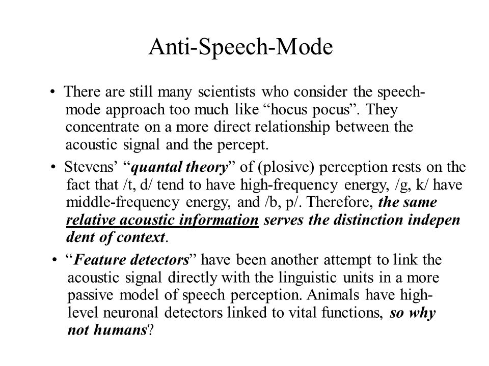 Anti-Speech-Mode