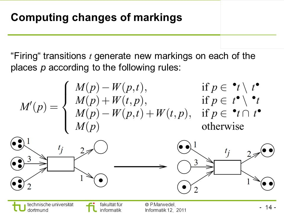 Computing changes of markings