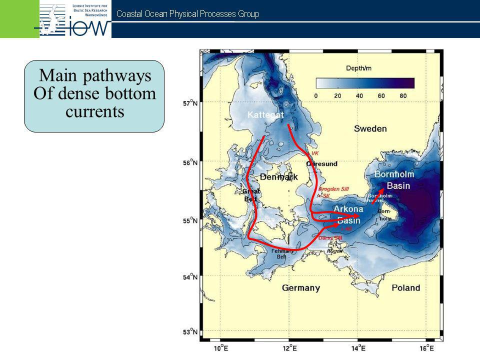 Main pathways Of dense bottom currents