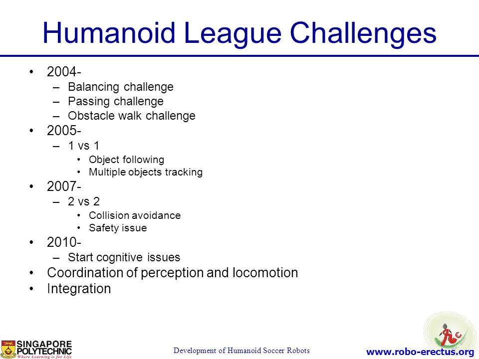 Humanoid League Challenges