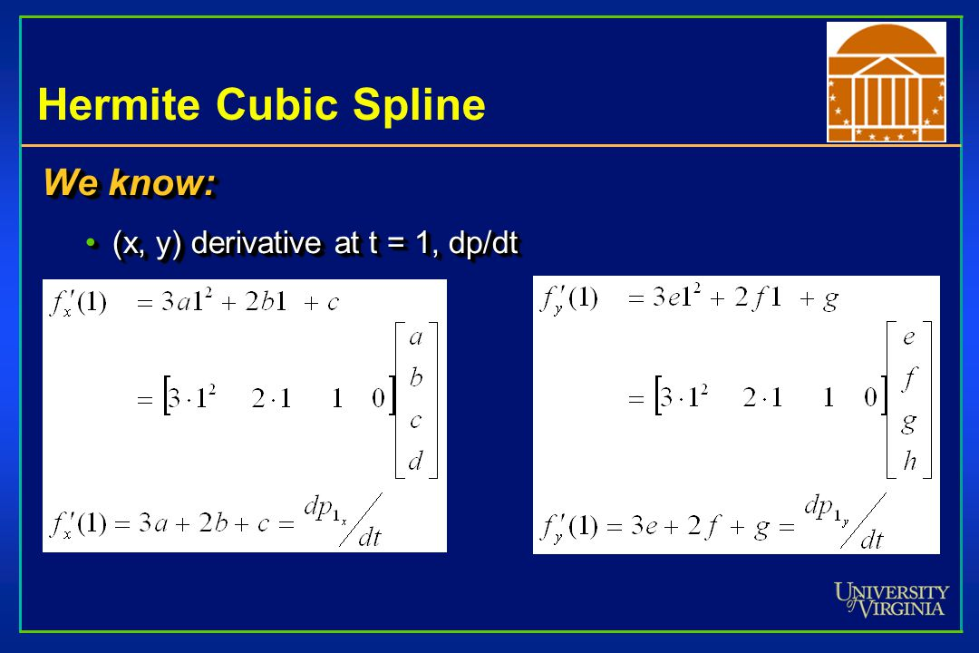 Hermite Cubic Spline We know: (x, y) derivative at t = 1, dp/dt