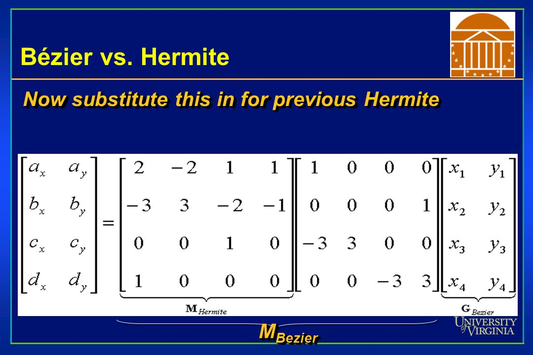 Bézier vs. Hermite Now substitute this in for previous Hermite MBezier