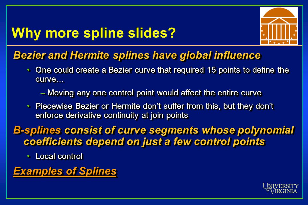 Why more spline slides Bezier and Hermite splines have global influence.