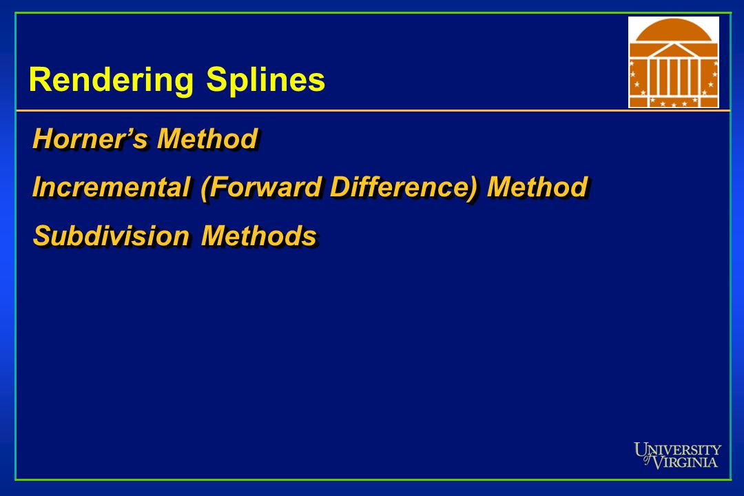Rendering Splines Horner's Method