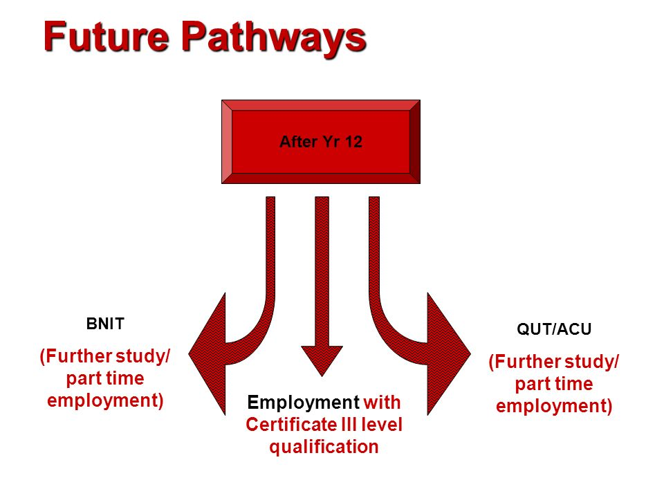 Future Pathways (Further study/ part time employment)