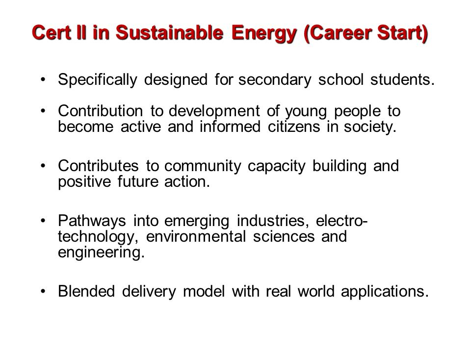 Cert II in Sustainable Energy (Career Start)