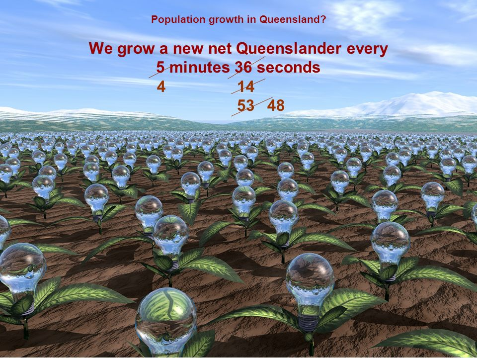 Population growth in Queensland We grow a new net Queenslander every