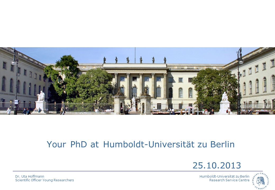 Your PhD at Humboldt-Universität zu Berlin