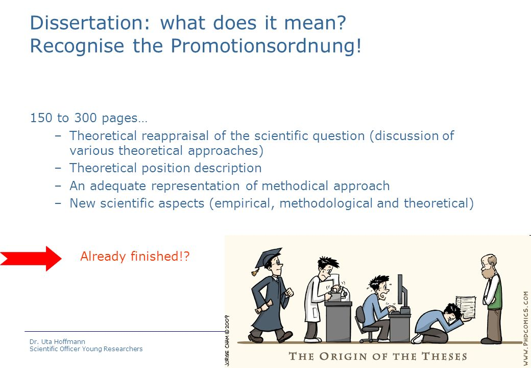 Dissertation: what does it mean Recognise the Promotionsordnung!