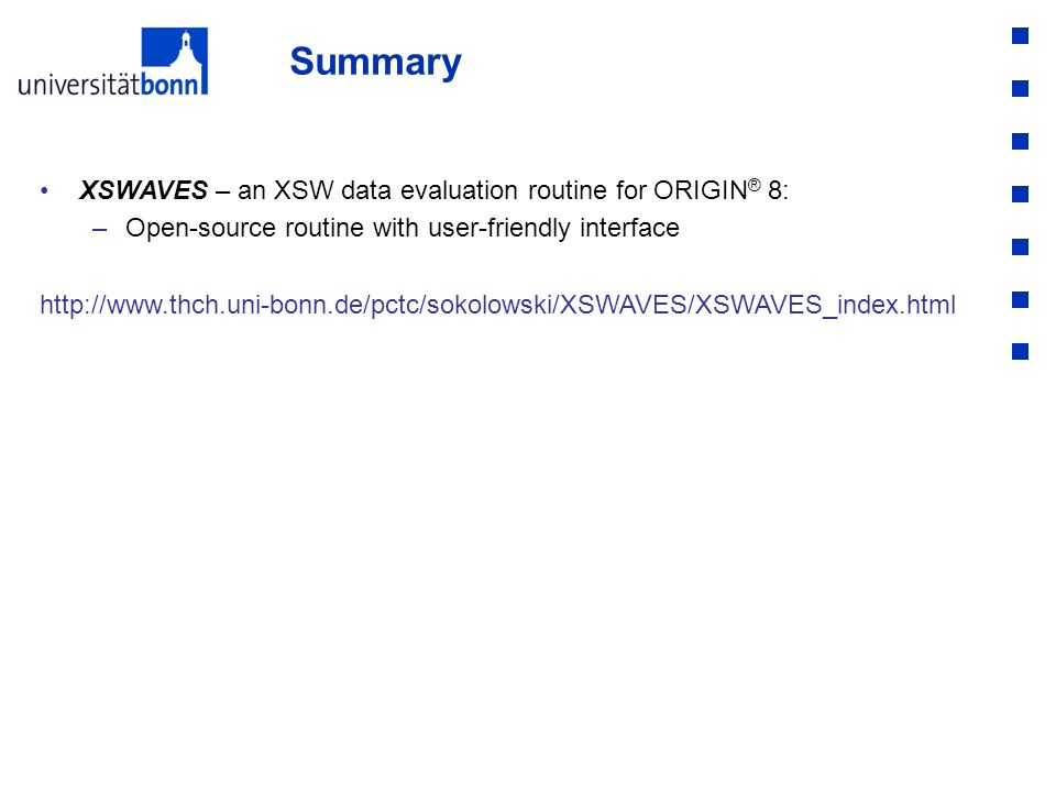 Summary XSWAVES – an XSW data evaluation routine for ORIGIN® 8: