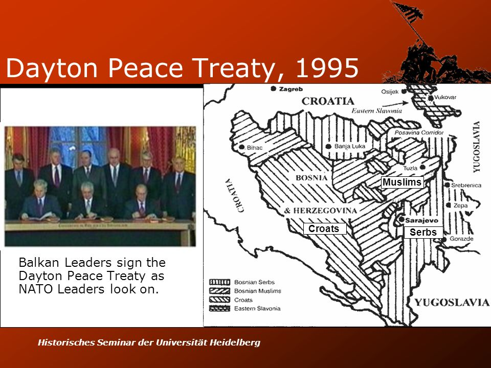 Balkan Leaders sign the Dayton Peace Treaty as NATO Leaders look on.
