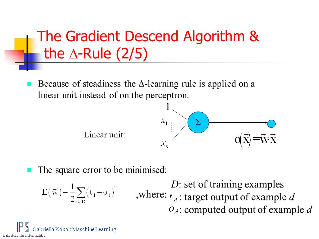 The Gradient Descend Algorithm & the D-Rule (2/5)