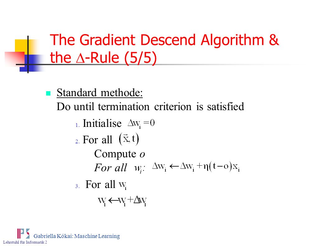 The Gradient Descend Algorithm & the D-Rule (5/5)