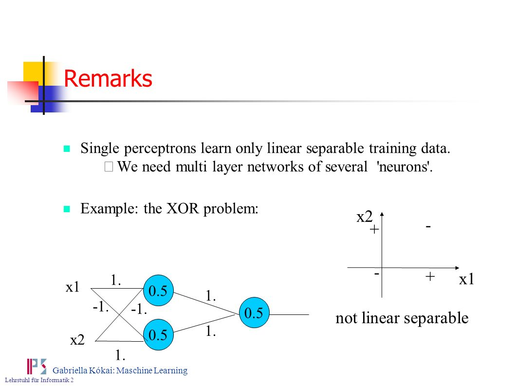 Remarks x x1 not linear separable
