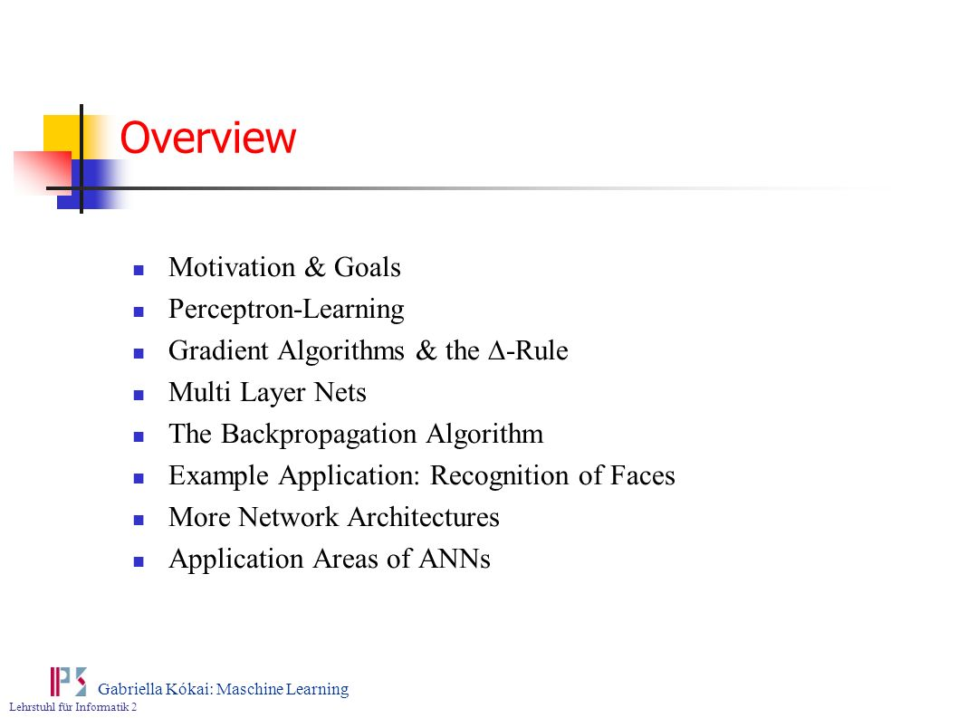 Overview Motivation & Goals Perceptron-Learning