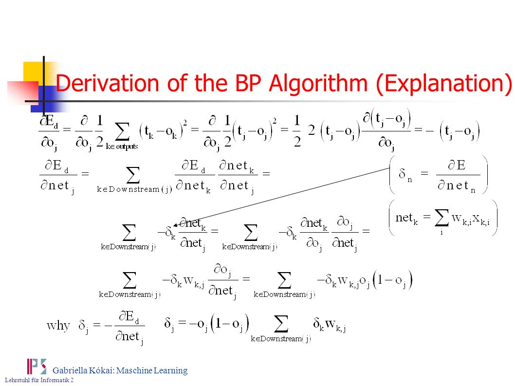 Derivation of the BP Algorithm (Explanation)