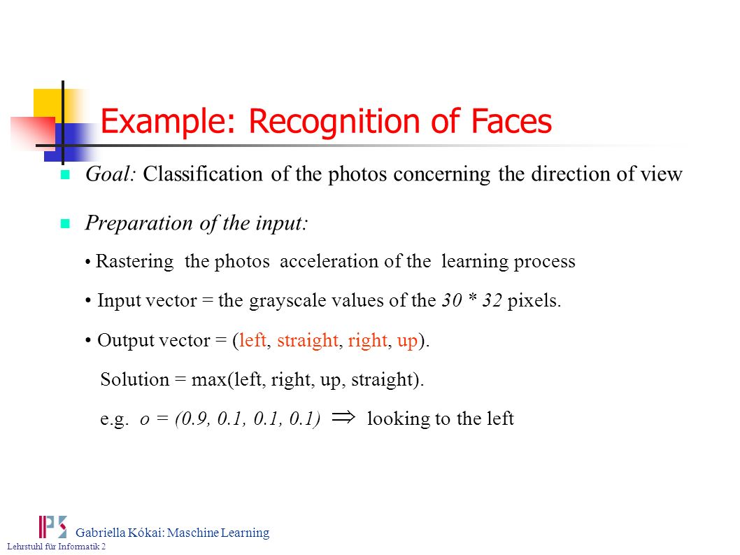 Example: Recognition of Faces