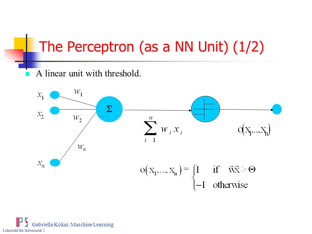 The Perceptron (as a NN Unit) (1/2)